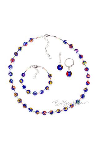 Комплект Муррина синего цвета (серьги, бусы, браслет)