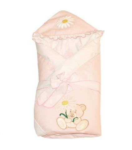 Конверт-одеяло для новорожденных на выписку Ромашка розовый