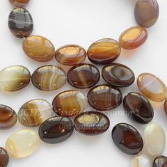 Бусина Агат (тониров), овальная плоская, цвет - коричневый, 20х15 мм, нить