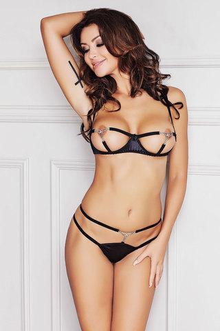 Комплект белья эротический черный открытый с камешками стрингами сексуальный польский Anais красивый новинка