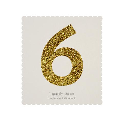 Стикер 6, мерцающее золото