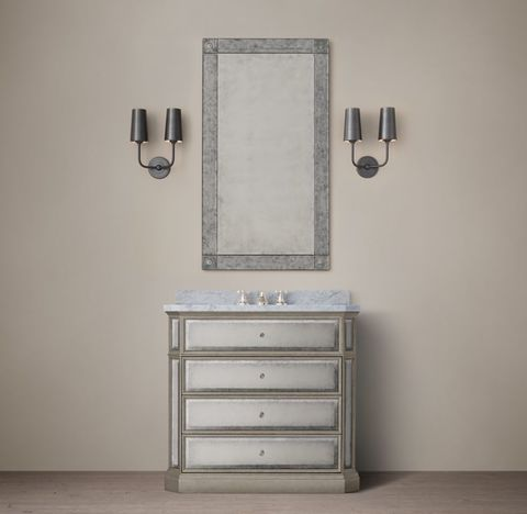1930s French Mirrored Single Vanity