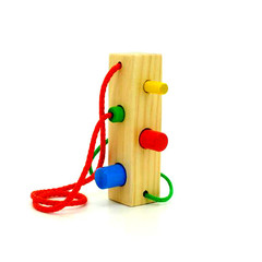 Игрушки из дерева Шнуровка-сортер