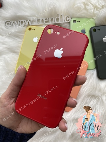 Чехол iPhone 6/6S Glass Pastel color Logo /red/
