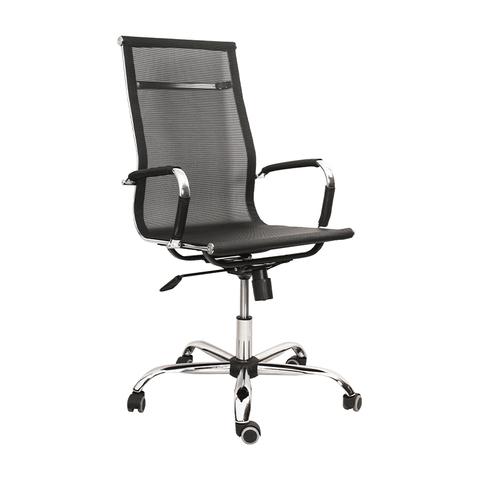 Кресло Техас на роликах с подлокотниками и хромированной крестовиной в сетке черного цвета, арт. 440382/TN01, производитель БЕЛС (РБ)