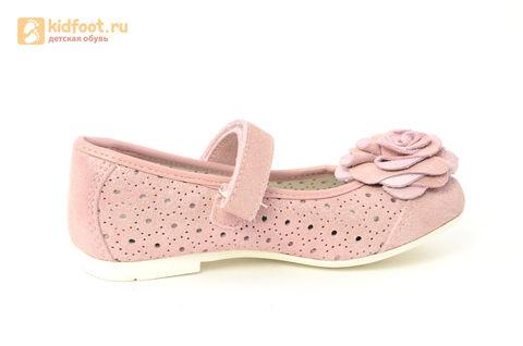 Детские туфли Котофей 332037-22 из натуральной кожи, для девочки, розовые. Изображение 4 из 14.