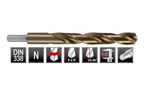 Сверло по металлу расточенное Ruko DIN338 h8 HSSE-Co5 16,0х178мм S=10мм 2005160