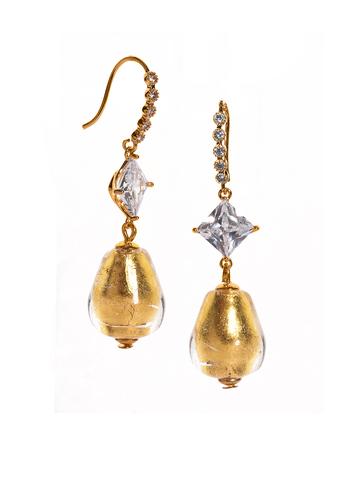 Серьги из муранского стекла золотистые со стразами Perla Goccia