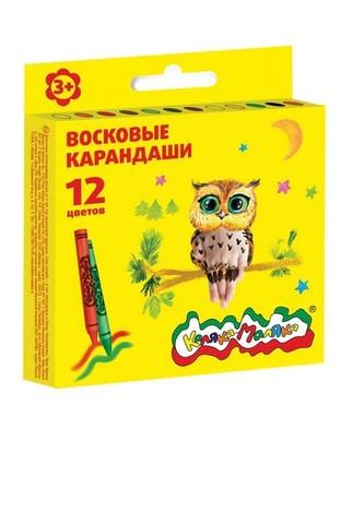 Восковые карандаши Каляка-Маляка 12 цветов круглые/КВКМ12