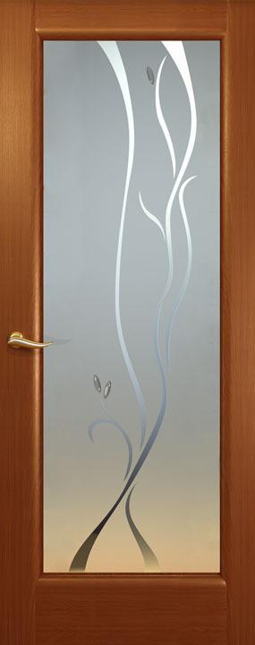 Новая волна, стекло-Р , Красное дерево, Дверное полотно, ОКЕАН
