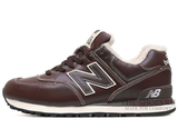 Кроссовки Мужские New Balance 574 Brown White Leather Winter Edition С Мехом