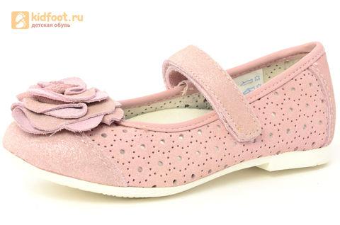 Детские туфли Котофей 332037-22 из натуральной кожи, для девочки, розовые. Изображение 1 из 14.