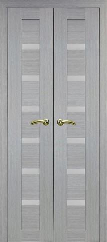 > Экошпон Optima Porte Турин 507.12 (двустворчатая), стекло матовое, цвет дуб серый, остекленная