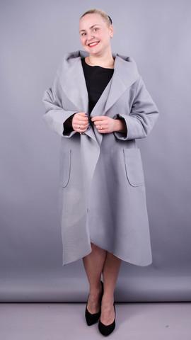 Сарена. Жіноче пальто-кадиган великих розмірів. Сірий.