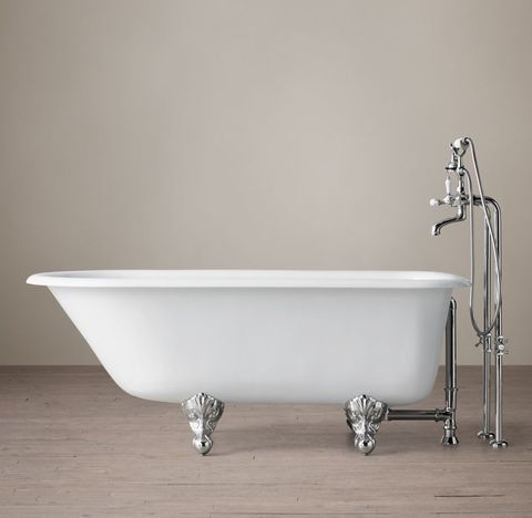 Classic Victorian Clawfoot Tub with Lever-Handle Tub Fill- Metal Feet