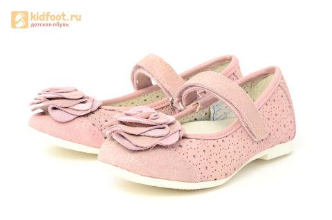 Детские туфли Котофей 332037-22 из натуральной кожи, для девочки, розовые. Изображение 6 из 14.