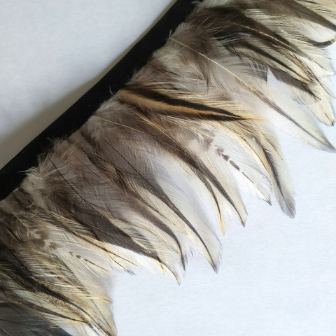 Тесьма  из перьев петуха h- 6-8см., натуральный