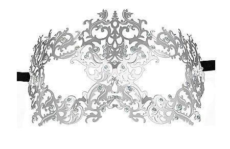 Перчатки и аксессуары: Серебристая металлическая маска Forrest Queen Masquerade