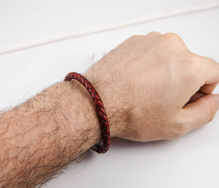 BM517-5 Мужской красный браслет из кожаного шнура фото 07