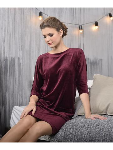 Велюровое платье NicClub Petra 1803 брусника