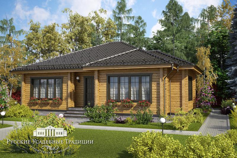 """Проекты одноэтажных домов «Бунгало» Проект одноэтажного дома """"Дельта"""" 150 кв.м. 149_cam3_logo.jpg"""
