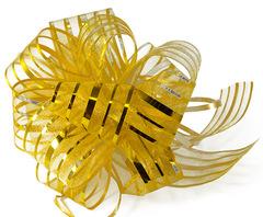 Бант-шар органза с перламутровой полосой 50х160 (золото)