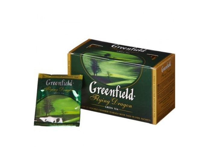 Чай зеленый в пакетиках из фольги Greenfield Flying Dragon, 25 пак/уп (Гринфилд)
