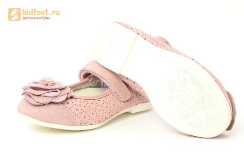 Детские туфли Котофей 332037-22 из натуральной кожи, для девочки, розовые. Изображение 10 из 14.