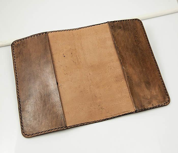BC163 Кожаная обложка для паспорта «Дали» ручной работы фото 06