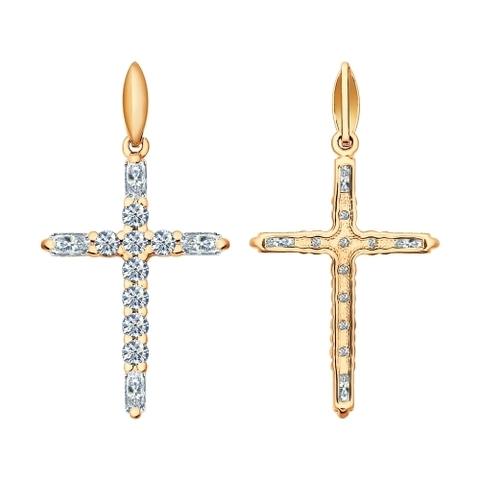 Крест из золочёного серебра с фианитами от SOKOLOV в стиле Тиффани