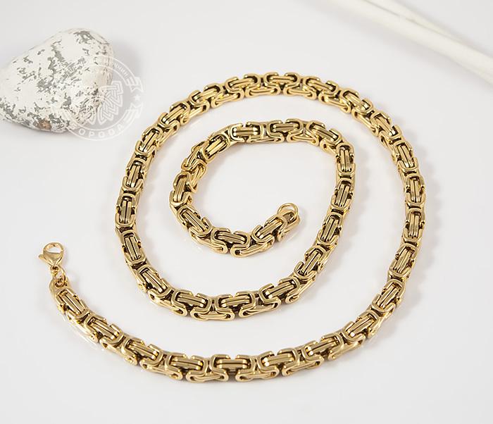 PM176 Красивая мужская цепь из стали квадратного сечения золотого цвета (55 см) фото 02