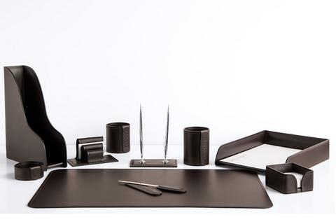 Набор на стол руководителя 1382-СТ 10 предметов кожа темно-коричневый шоколад.