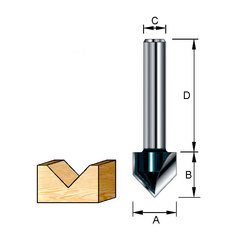 Фреза для V-образных пазов 12,7*32*12,7*8 мм; 90 °