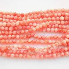 Бусина Коралл, шарик с огранкой, цвет - розовый, 4 мм, нить