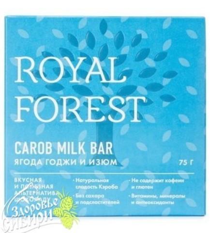 Шоколад из кэроба Royal Forest с ягодой годжи и изюмом, 75 гр
