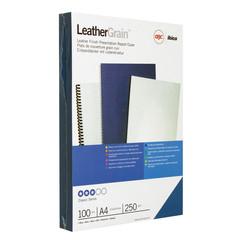 Обложки для переплета картонные GBC синие кожа, А4, 250г/м2, 100шт/уп.