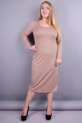 Мирослава француз. Платье больших размеров. Бежевый.