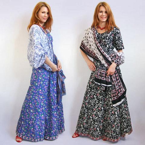 Комплект  юбка безразмерная + чоли + палантин