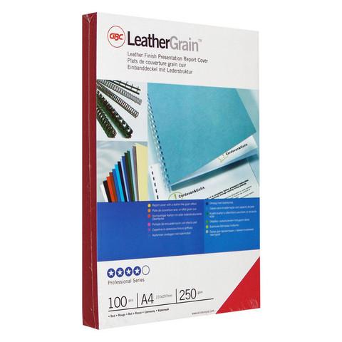 Обложки для переплета картонные GBC красные кожа, А4, 250г/м2, 100шт/уп.