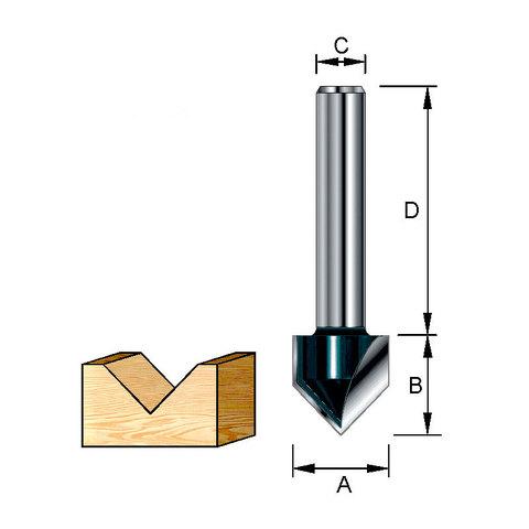 Фреза для V-образных пазов 19,05*32*12,7*8 мм; 90 °