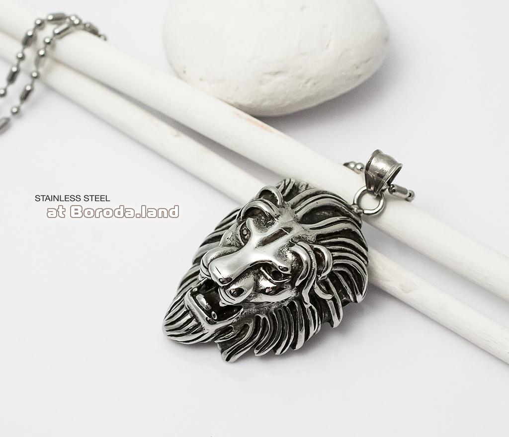 Массивная мужская подвеска «Лев» из ювелирной стали