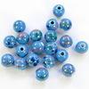 """Бусина фарфоровая ручной работы, шарик ,""""Синий цветок на голубом фоне"""", 10 мм"""
