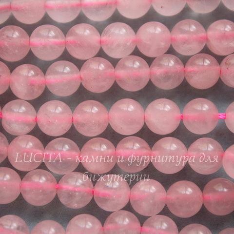 Бусина Кварц (прессов), шарик, цвет - розовый, 6 мм, нить