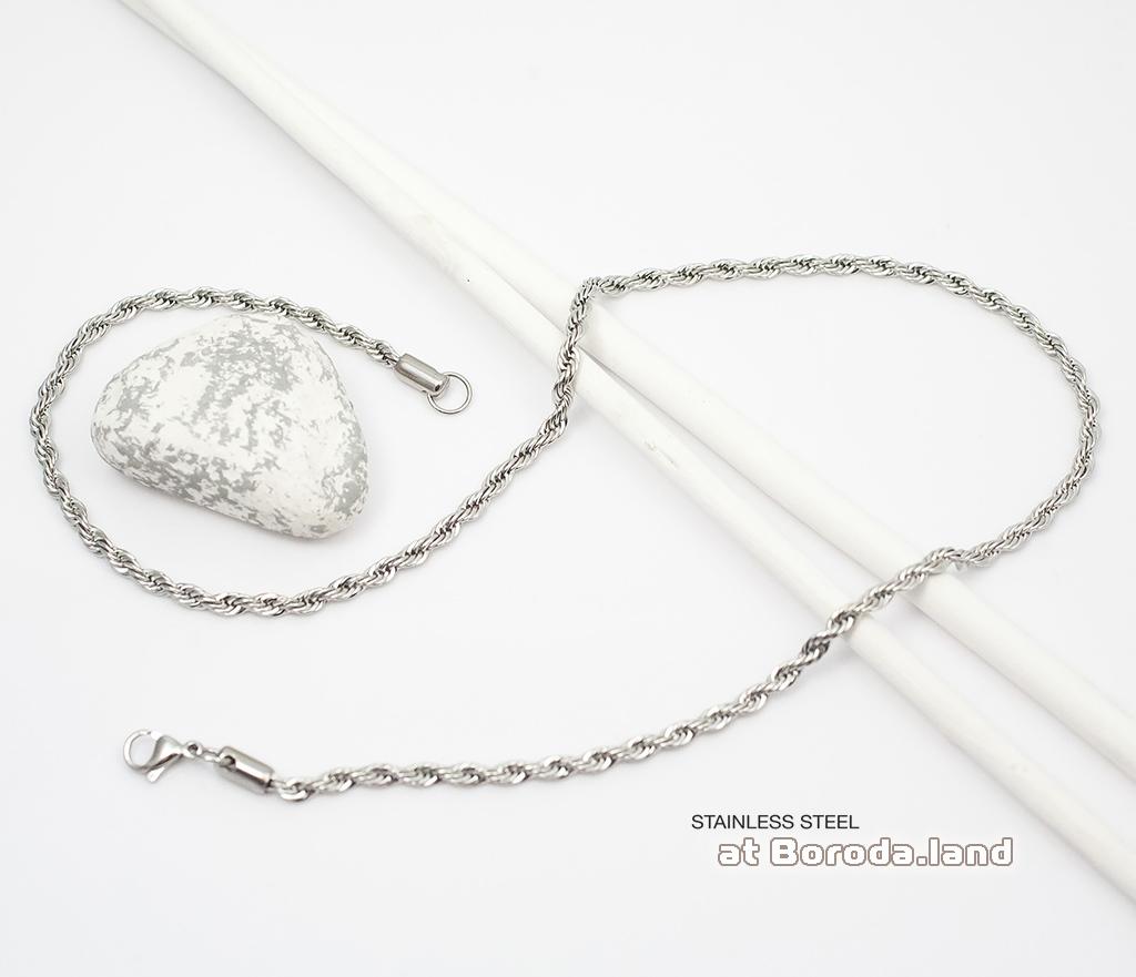 PM177 Тонкая плетеная мужская цепочка из стали (60 см) фото 02