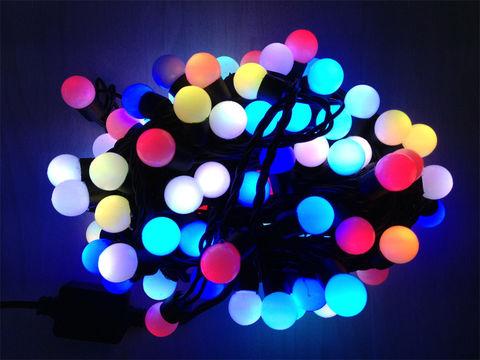 Гирлянда шарики разноцветная LED  светодиодная 10 м 100 лед