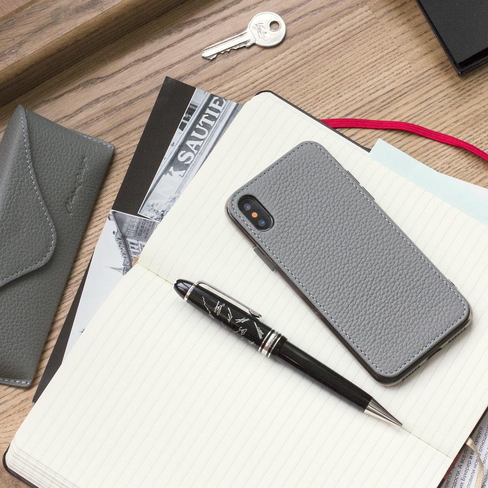 Чехол-накладка для iPhone X/XS из натуральной кожи теленка, стального цвета