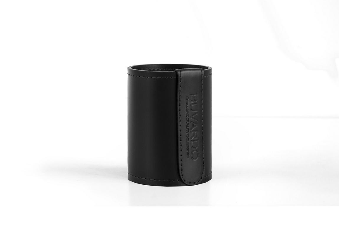 Стакан Н12 кожа Cuoietto (Италия) цвет черный.