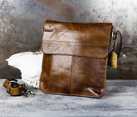 BAG441-2 Мужская сумка из гладкой кожи с ремнем на плечо