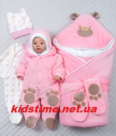 Зимний набор на выписку из роддома Little Bear lux розовый