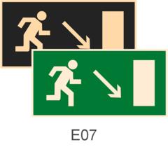 знаки фотолюминесцентные эвакуационные Е07 Направление к эвакуационному выходу направо вниз